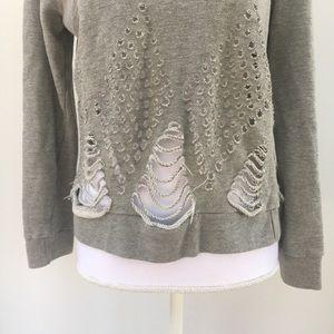 Anthropologie Tops - Anthro Pepin laser-cut destroyed gray sweatshirt M